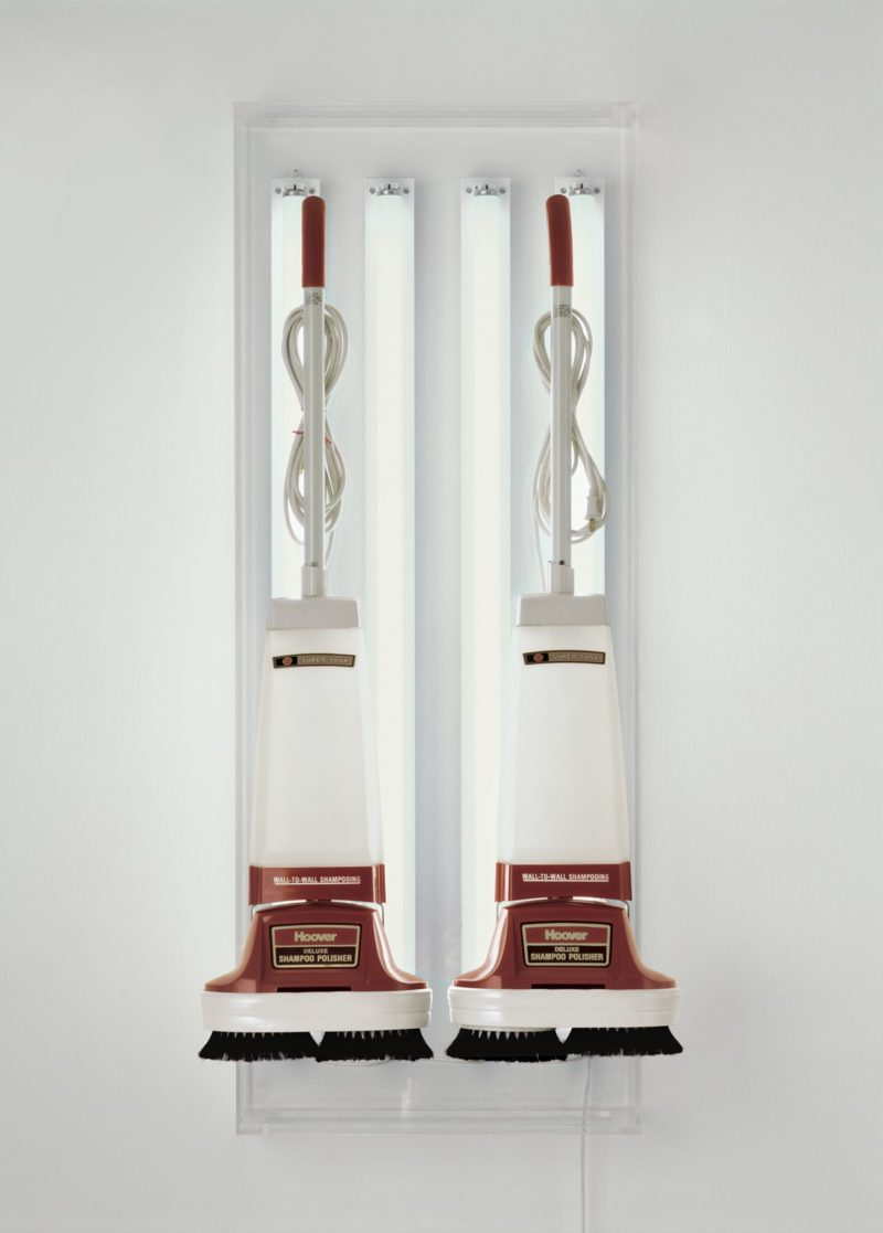 Jeff Koons - The New - New Hoover Deluxe Shampoo Polishers, 1980, Two shampoo polishers, acrylic, fluorescent lights, 142.2 x 55.9 x 38.1 cm