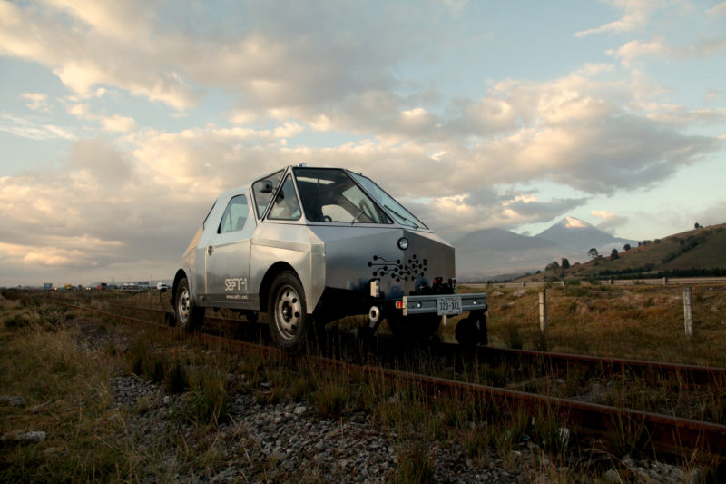 SEFT-1 Abandoned Railways Exploration Probe by Ivan Puig and Andres Padilla Domene, in front of Citlaltépetl