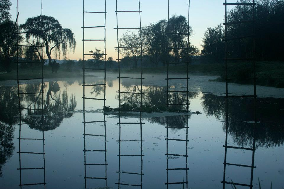 Strijdom van der Merwe - Ladders in water, 2014, Nirox Sculpture Park, Krugersdorp, South Africa