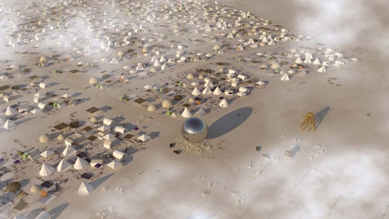 Rendering of aerial view of Bjarke Ingels and Jakob Lange - The Orb, 2018, inflatable mirrored sphere, 32-metre inclined steel mast, approximately 100 feet (30 metres) in diameter, at Burning Man festival, Nevada desert