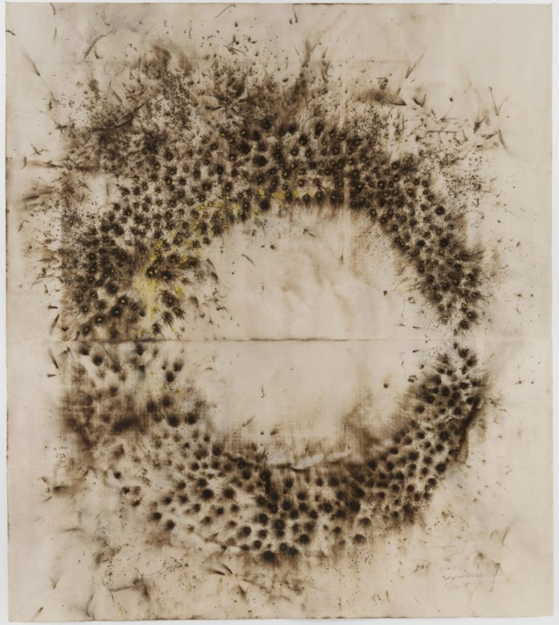 Cai Guo-Qiang – Drawing for Transient Rainbow, 2003, Gunpowder on two sheets of paper, 454.7 x 405.1 cm (179 x 159 1:2″)