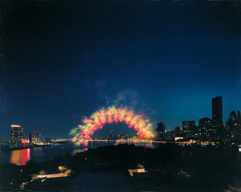 Cai Guo-Qiang - Transient Rainbow, 2002, opening of MoMA QNS, New York City