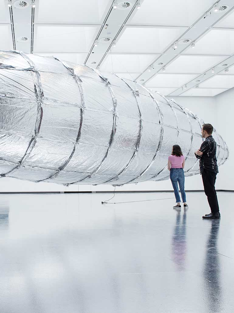 Lee Bul's shiny, giant metal Zeppelin invades museums