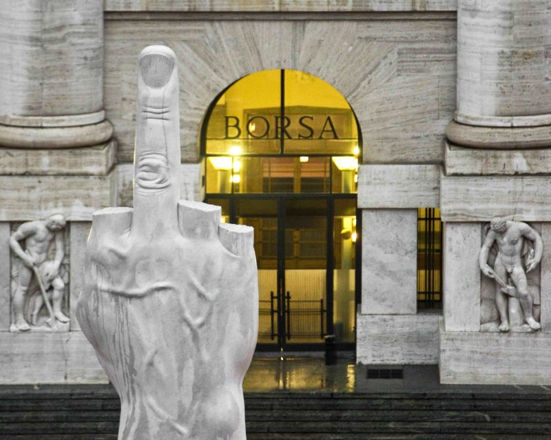 Maurizio Cattelan - L.O.V.E., 2010, White Carrara Marble, roman travertine, 1100 x 470 x 470 cm (36.1 x 15.5 x 15.5 feet), Piazza Affari Milano, Italy