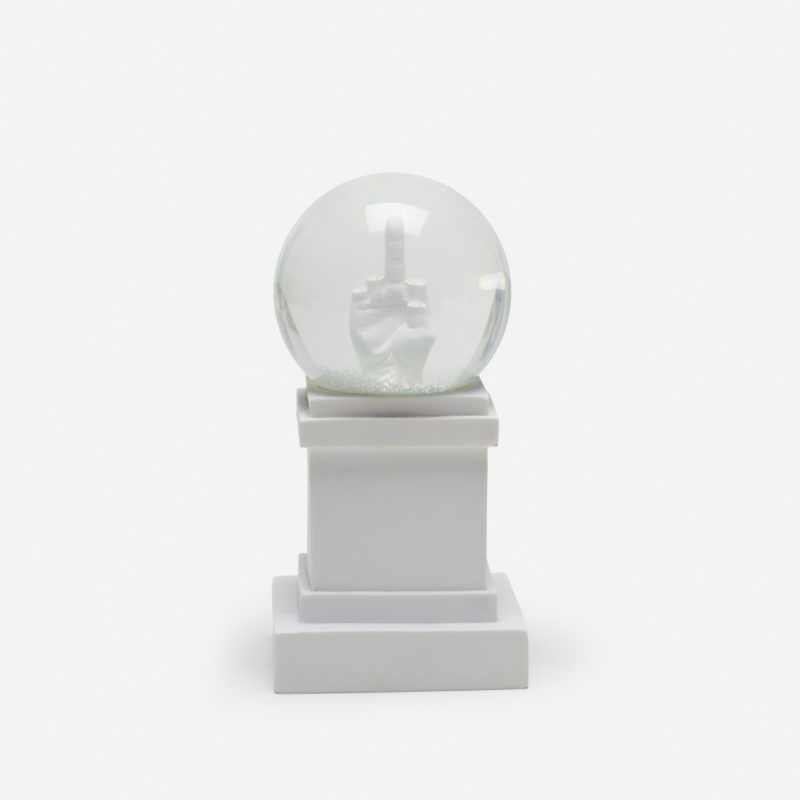 Maurizio Cattelan - L.O.V.E. Snow Globe, 2014, resin, glass, glitter, water, 16.5 x 11.4 x 11.4 cm (6.5 x 4.5 x 4.5 in), edition of 2000