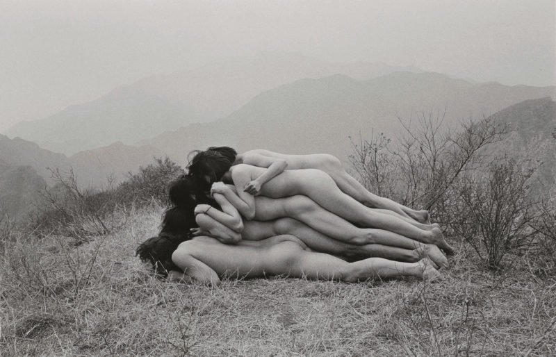 Zhang Huan - To Add a Meter to an Anonymous Mountain, 1995, black and white photograph, 65.4 x 102.9 cm. (25 3:4 x 40 1:2 in.), edition of 15