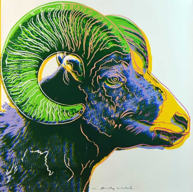 Andy Warhol - Bighorn Ram, 1983, from Endangered Species, screenprint, 96,5 x 96,2 cm (38 x 37 7/8 in.)