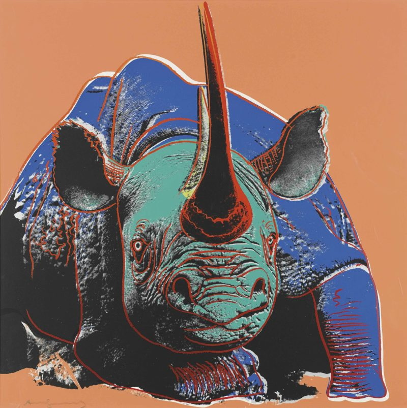 Andy Warhol - Black Rhinoceros, 1982, from Endangered Species, screenprint, 96,5 x 96,2 cm (38 x 37 7/8 in.)