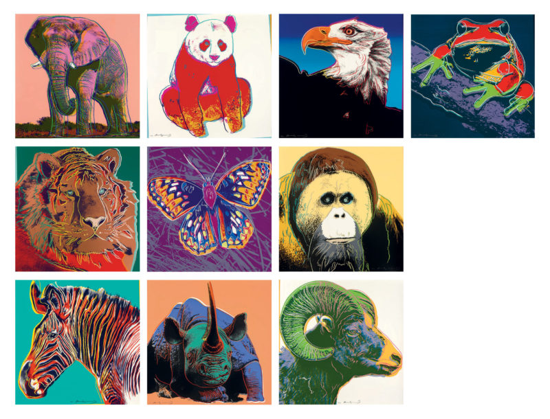 Andy Warhol - Endangered Species, complete set of ten signed screenprints, 1983, each 96,5 x 96,5 cm (38 x 38 in.)