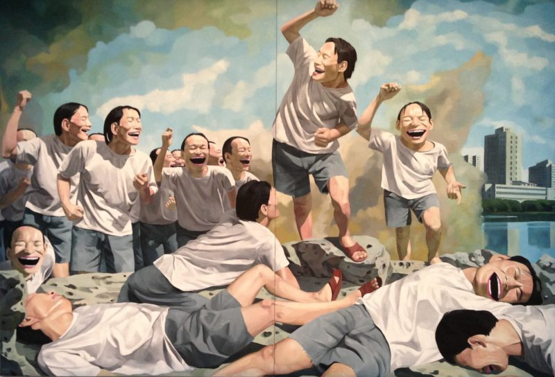 Yue Minjun - Freedom Leading the People, oil on canvas, 360cm x 250cm, 1996