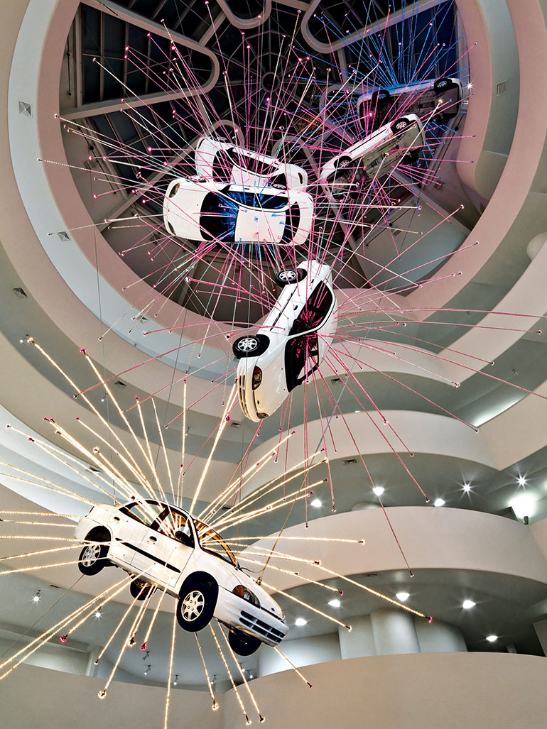 This was Cai Guo-Qiang's impressive installation Inopportune at the Guggenheim