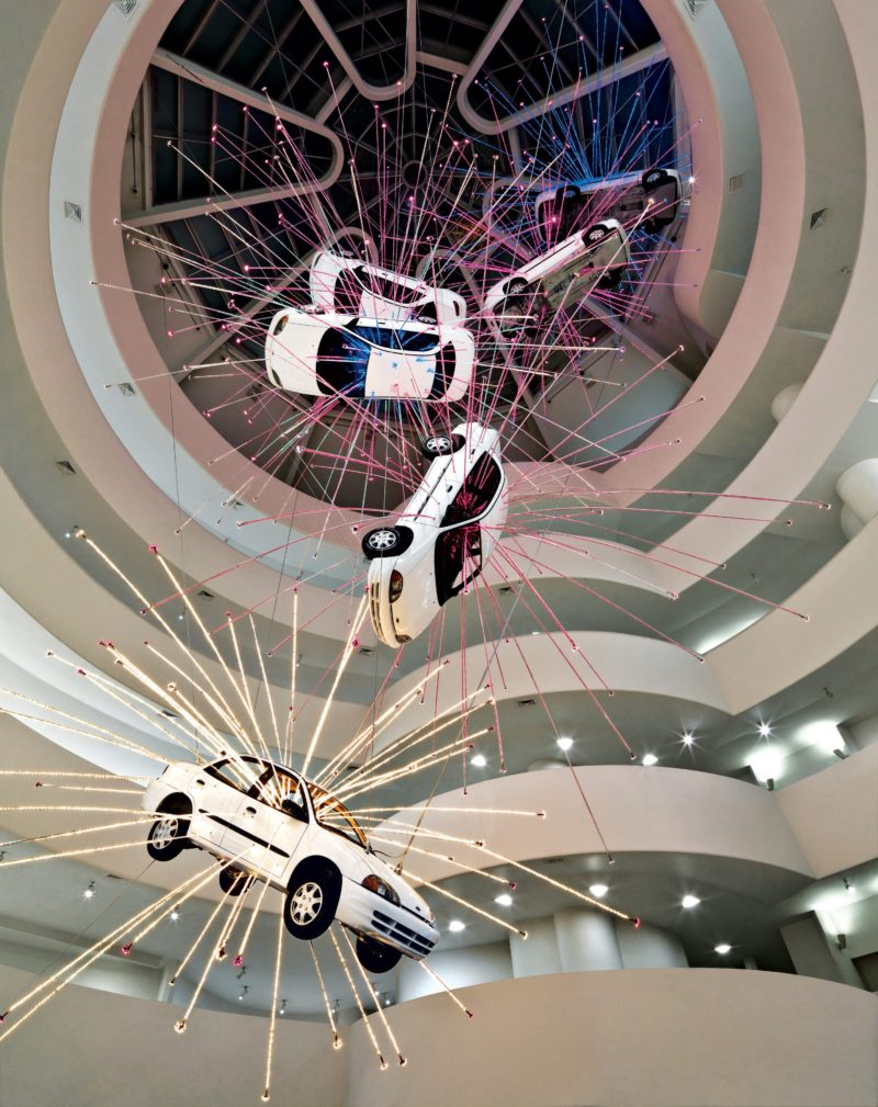 Cai Gao-Qiang – Inopportune: Stage One, 2004, nine Ford Taurus cars, sequenced multichannel light tubes, Guggenheim, New York
