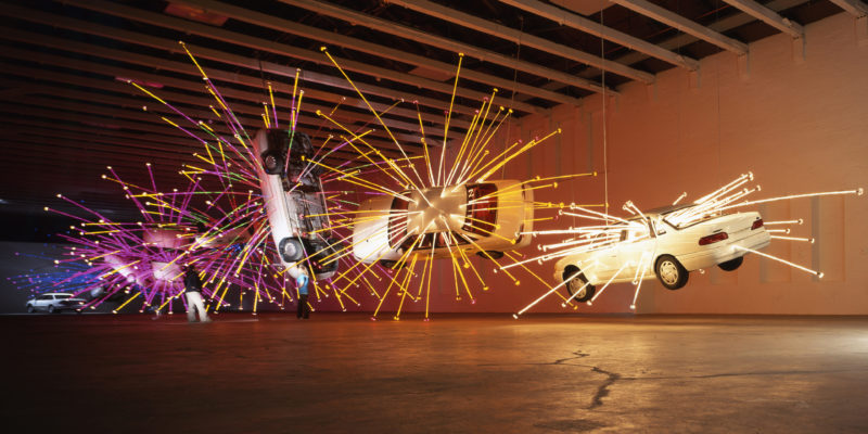 Cai Gao-Qiang – Inopportune Stage One, 2004, nine Ford Taurus cars, sequenced multichannel light tubes, Mass MoCA, December 1, 2004 - October 30, 2005