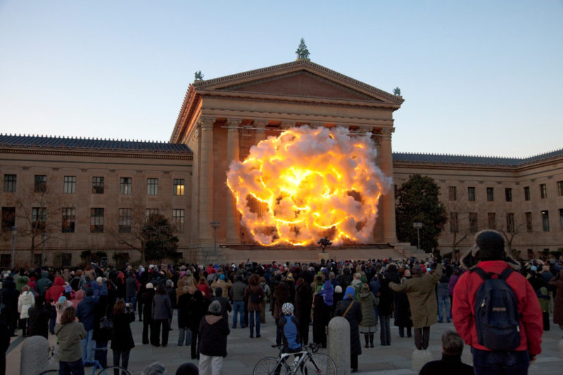 Cai Guo-Qiang - Fallen Blossoms- Explosion Project, 2009, Gunpowder fuse, metal net for gunpowder fuse, scaffolding, Explosion area (building facade) approximately 18.3 x 26.1 meters, Philadelphia Museum of Art