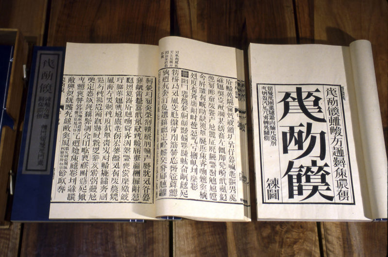 Detail of Xu Bing - Book from the Sky, 1987-1991, installation of hand-printed books and ceiling and wall scrolls printed from wood letterpress type, ink on paper, dimensions variable