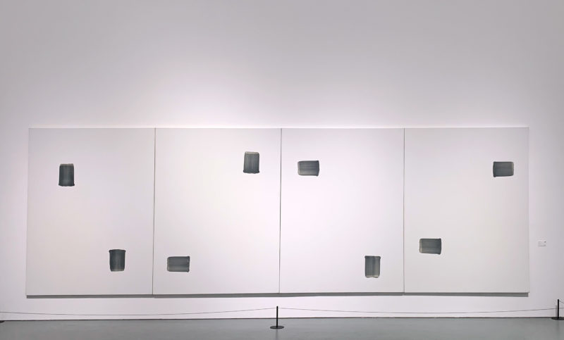 Lee Ufan – Correspondance, 1994, stone pigment on canvas, 4 canvases á 259 x 194.5 cm, Installation view: Korean Abstract Art – Kim Whanki and Dansaekhwa, Powerlong Museum, Shanghai, 2018-2019