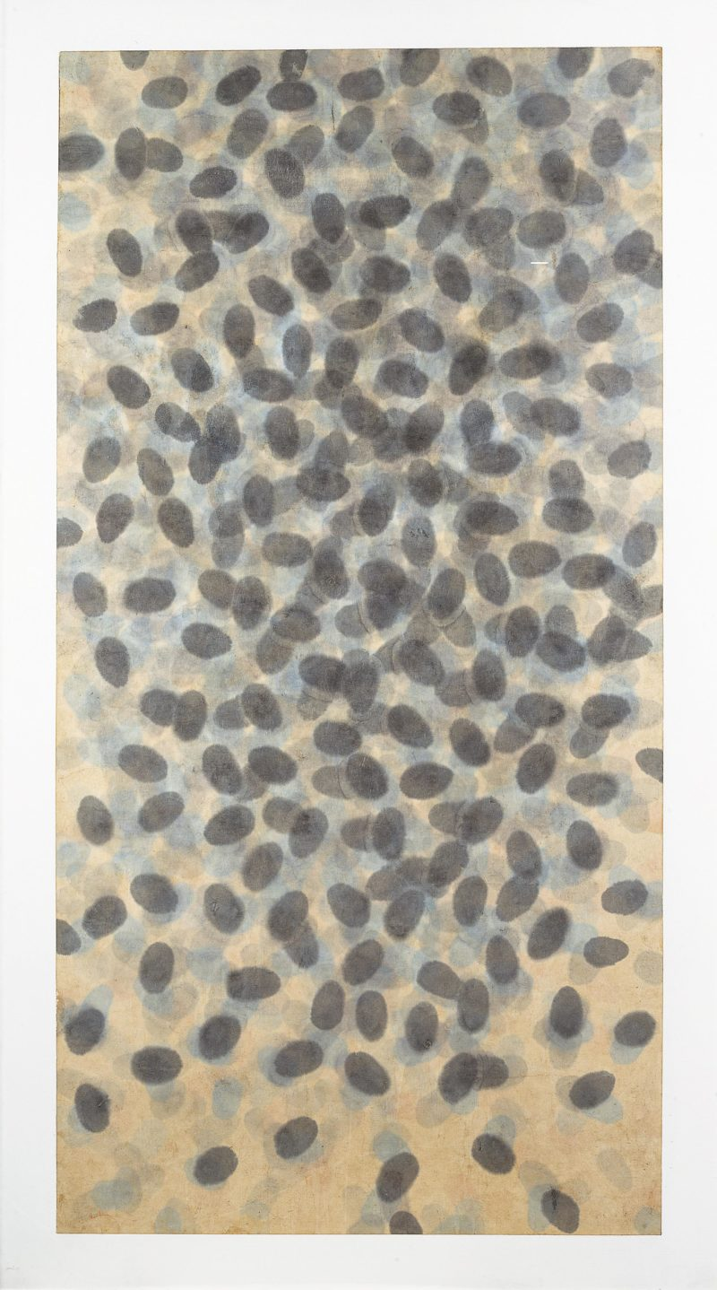 Quac In-sik 곽인식 – Untitled, 1980, colored ink on Japanese paper mounted on canvas, 208 x 116 cm