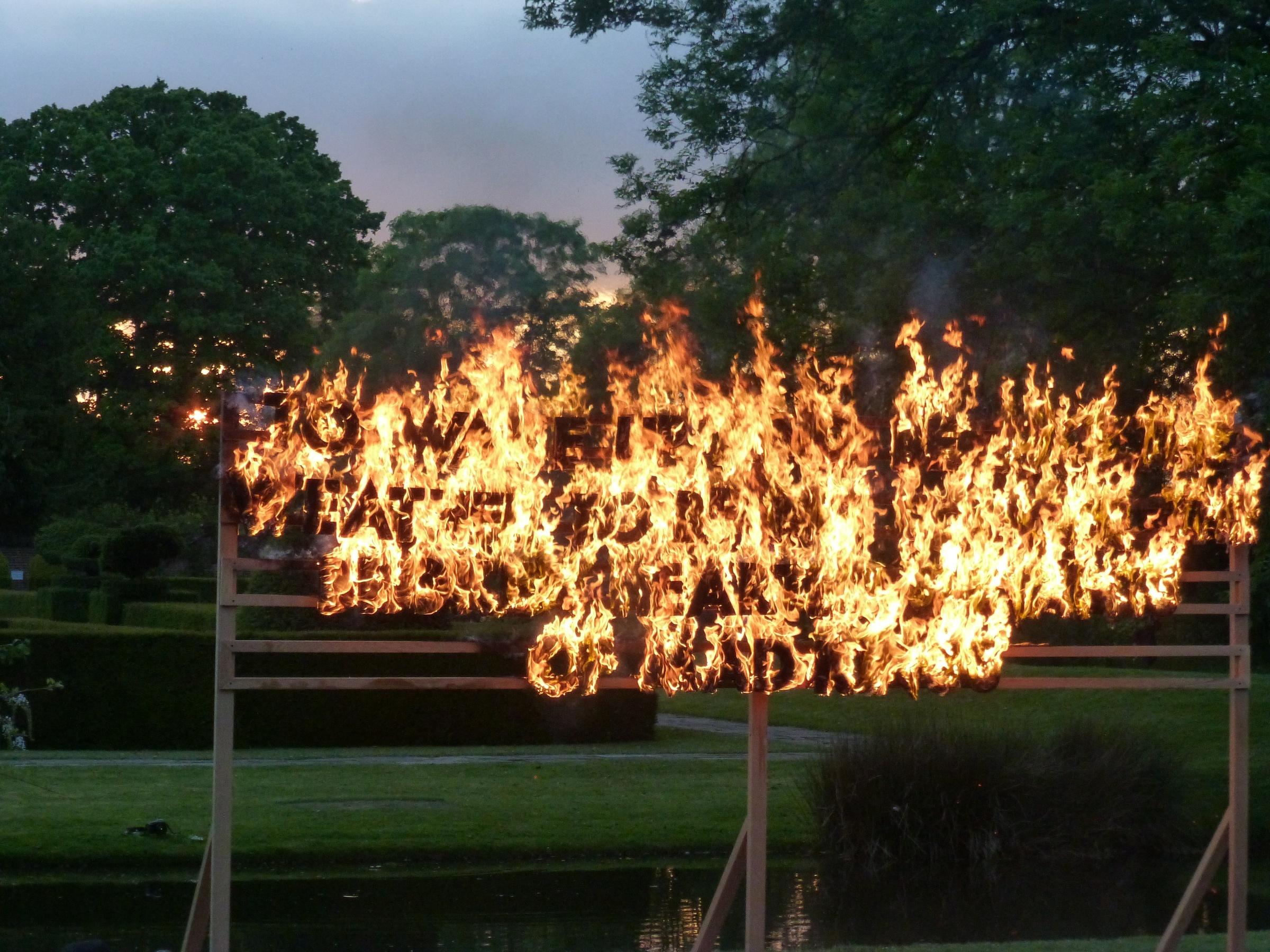 Robert Montgomery - Great Fosters Fire Poem, Great Fosters, Surrey, England, 2013