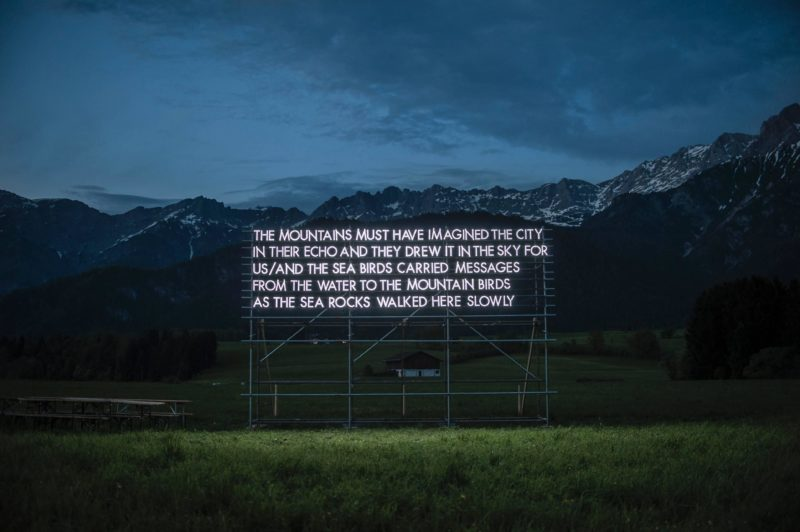 Robert Montgomery - Leogang Poem, Austrian Alps, 2015, The Mountains Must Have Imagined The City