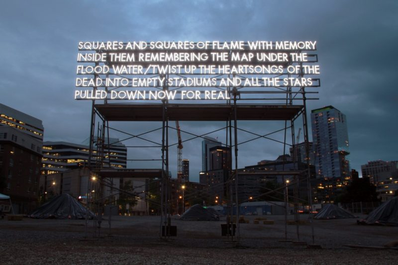 Robert Montgomery - Squares and squares of flame with memory inside them remembering the map under the flood water twist up the heartsongs of the dead into empty stadiums and all the stars pulled down now for real, Seattle, 2015