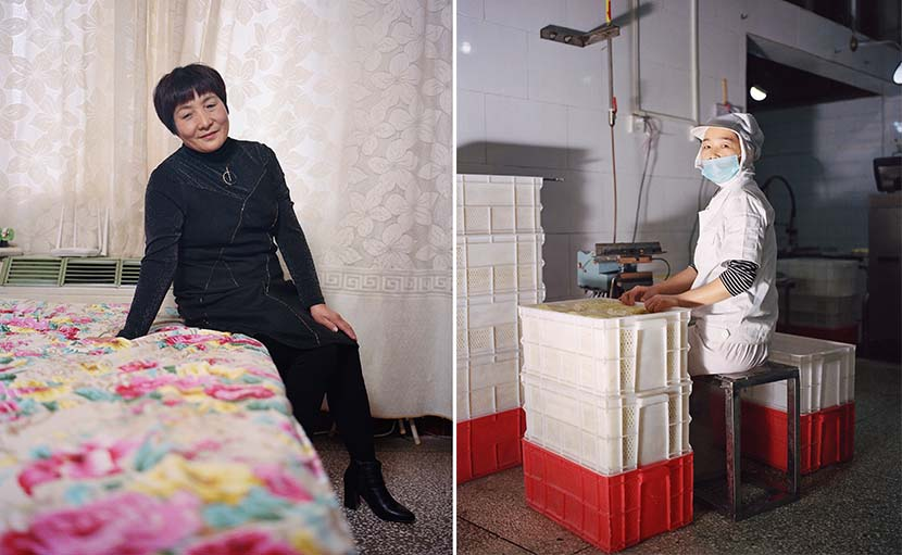 Shi Yangkun - Left- Cui Miaoyun poses for a portrait at home; right- A worker at a noodle factory in Nanjie, Henan province, 2018