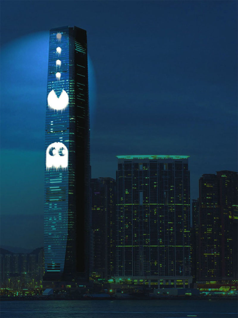 Cao Fei shows iconic video games on 490m tall Hong Kong building