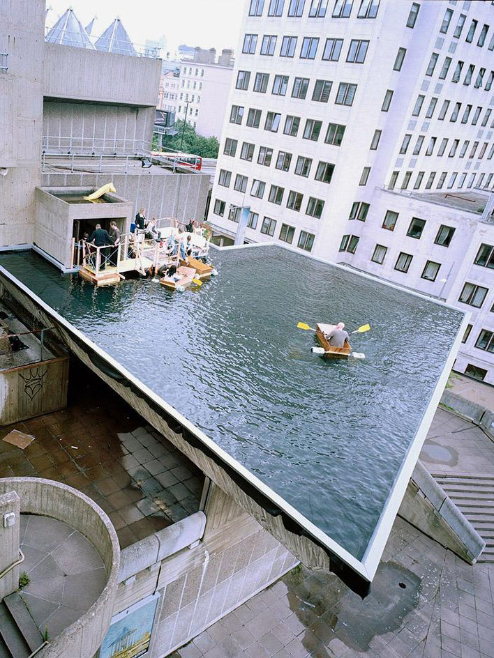 Gelitin installed a pool on top of London museum