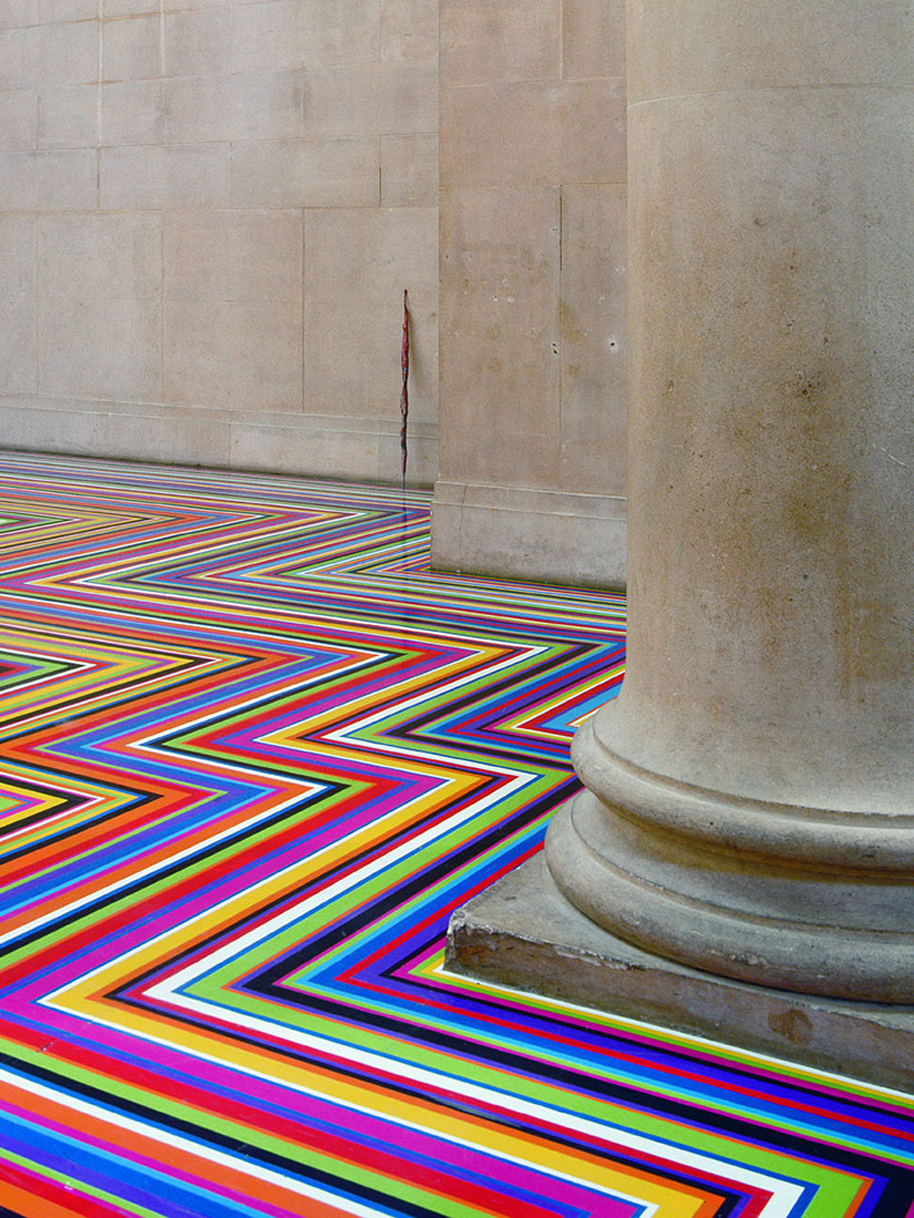See how Jim Lambie's hypnotic floor installations transform rooms