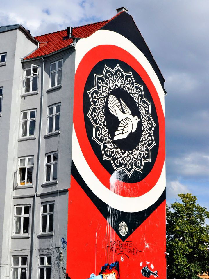 Shepard Fairey / Obey's Copenhagen mural destroyed by angry locals