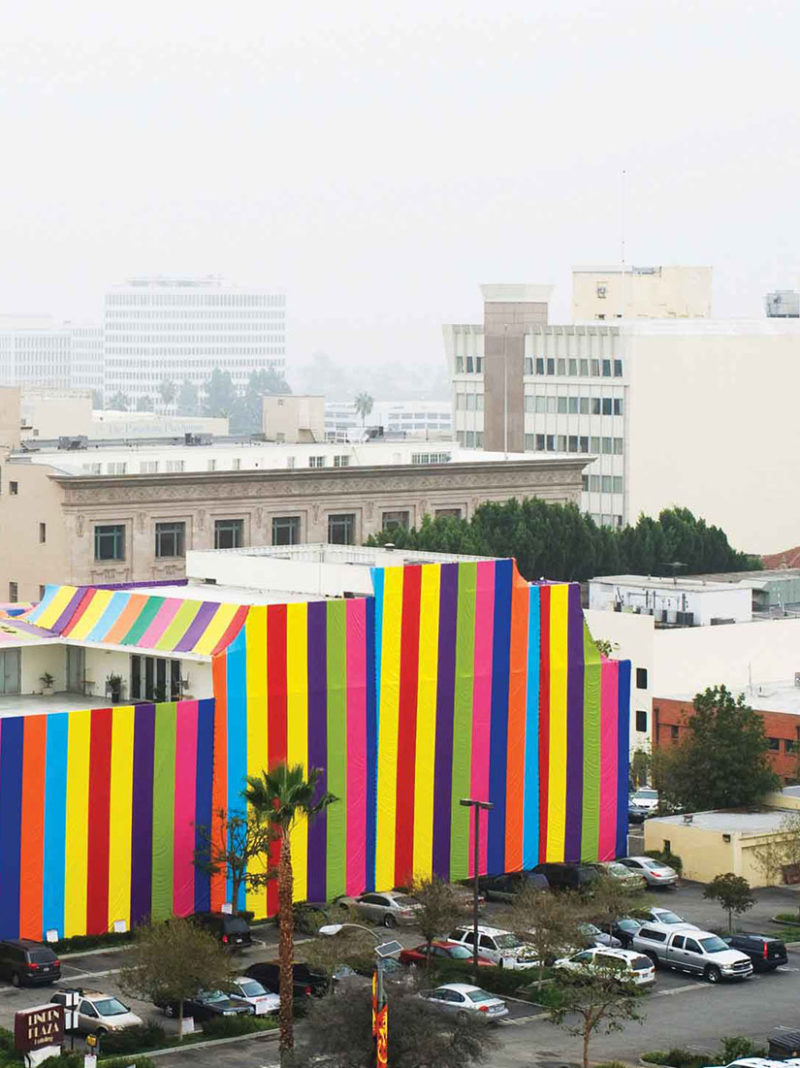 Artist Susan Silton covers entire museum with colorful tarp