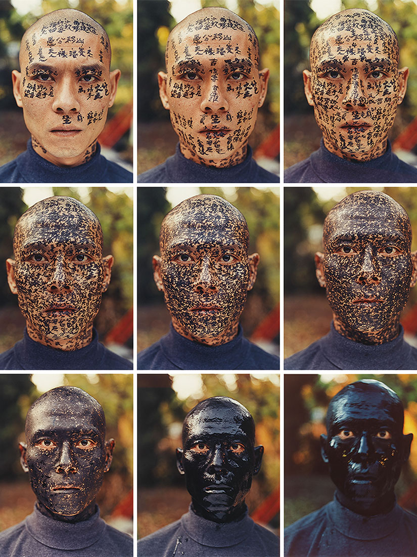 Whole face painted black in Zhang Huan's Family Tree
