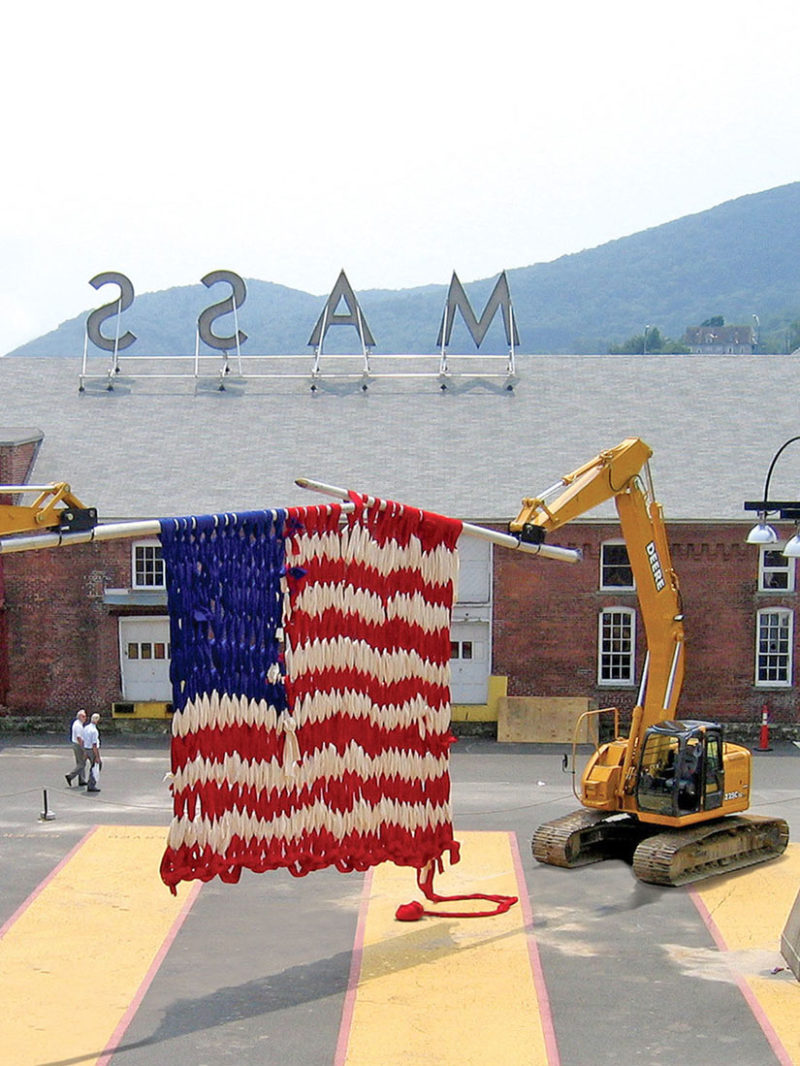 This machine is knitting a gigantic American flag