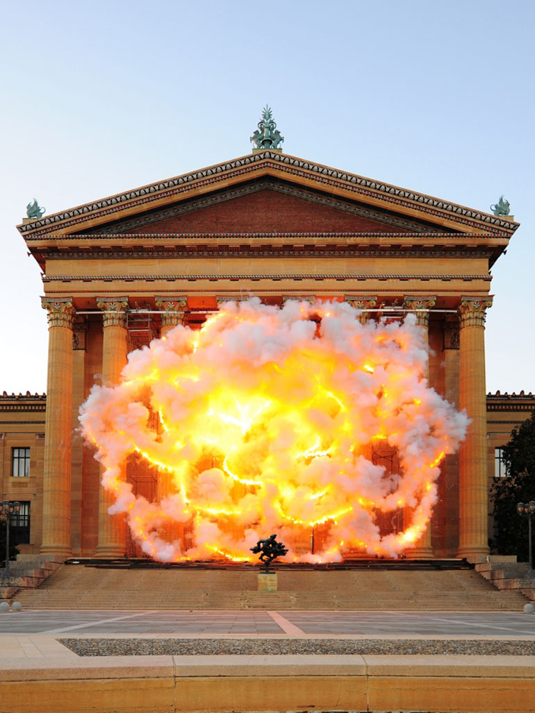 This was Cai Guo-Qiang's explosion project Fallen Blossoms