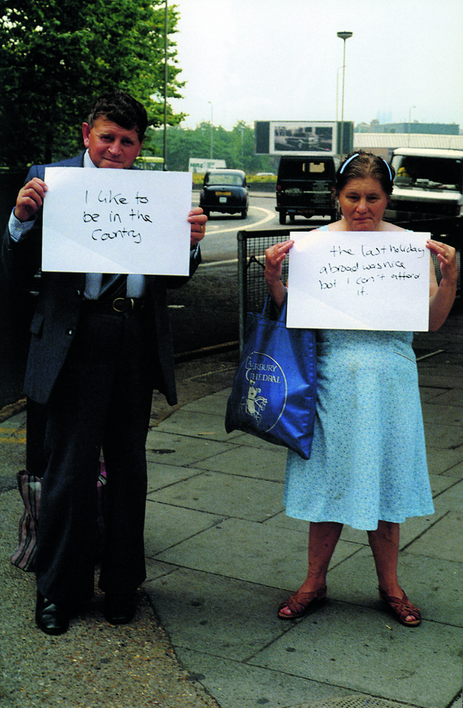 Gillian Wearing - I like to be in the country & The last holiday abroad was nice but I can't afford it. from Signs that say what you want them to say and not Signs that say what someone else wants you to say, 1992-1993
