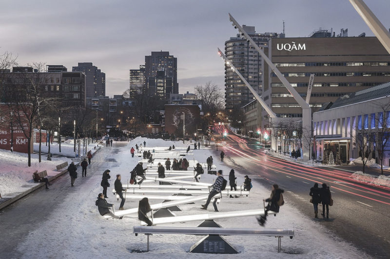 Impulse, 30 seesaws, Luminothérapie, Place Des Festivals, Montreal, 2015