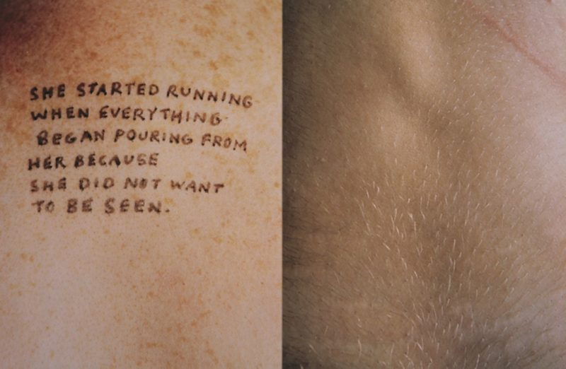Jenny Holzer - Lustmord - She started running when everything began pouring from her because she did not want to be seen., 1993-1994, ink on skin