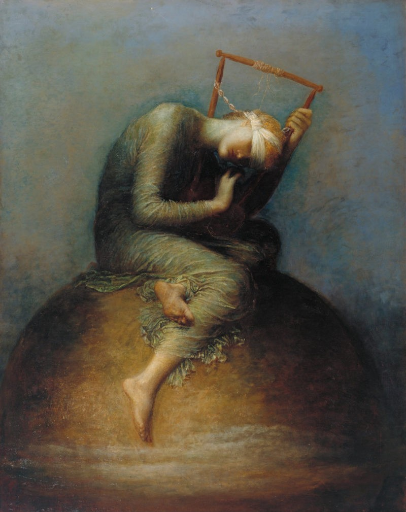 George Frederic Watts - Second version of Hope, 1886, oil painting, 142.2 cm x 111.8 cm (56.0 in x 44.0 in), location: Tate Britain