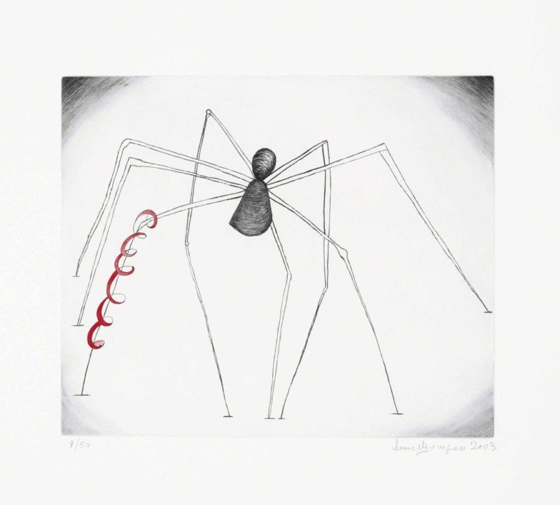 Louise Bourgeois - Untitled (Spider and Snake), 2003, Drypoint with hand-coloring in red gouache and ink, on wove paper, 44.1 × 48.3 cm (17 2/5 × 19 in)