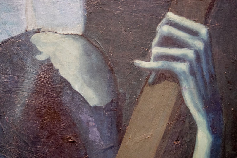 Pablo Picasso – The Old Guitarist (detail), 1903–1904, oil on panel, 122.9 x 82.6 cm (48 3/8 x 32 1/2 in.)