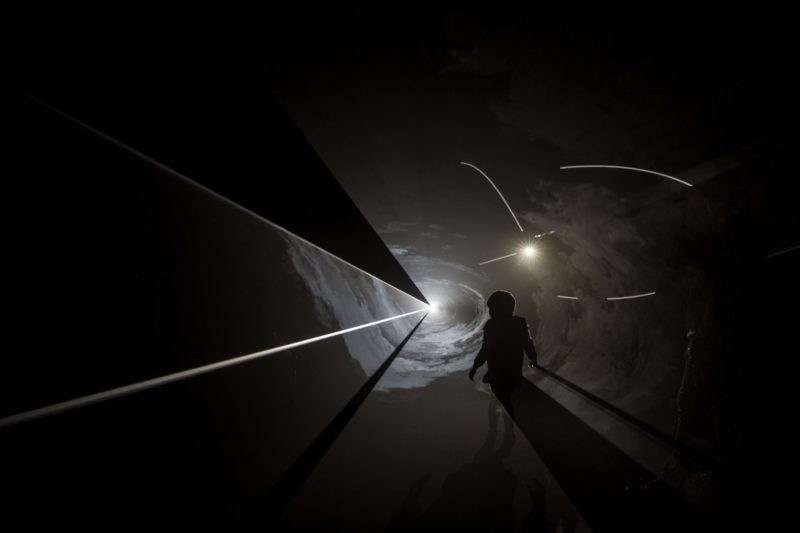 Anthony McCall - Face to Face IV, 2013, installation view, Dark M*fo 2015, Macquarie Point, Museum of Old and New Art, Hobart, June 2015