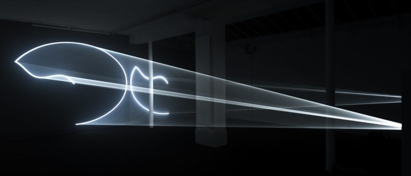 Anthony McCall - Leaving (with Two-Minute Silence), 2009, double installation (horizontal) computer, QuickTime movie file, two video projectors, two audio speakers, two haze machines