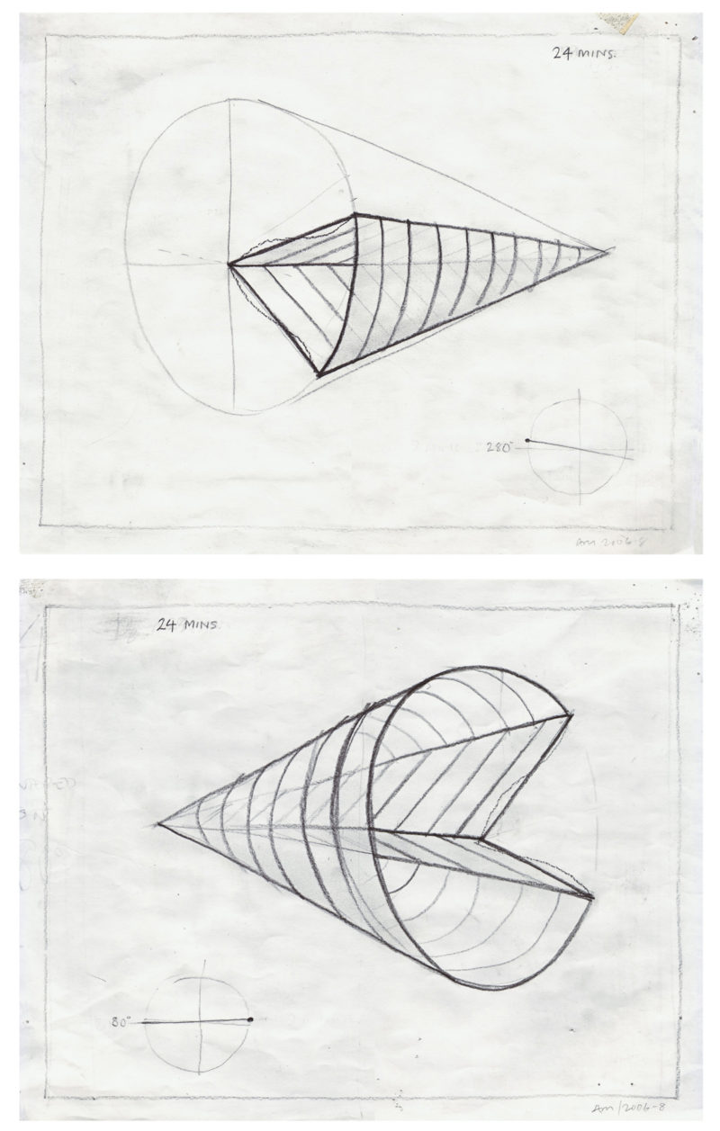 Anthony McCall - Sketch for Leaving (with Two-Minute Silence), 2006:2008. Pair of working drawings in a set of 24