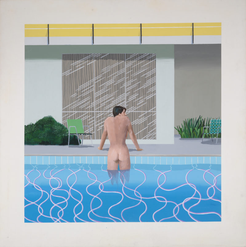David Hockney - Peter Getting our of Nick's Pool, 1966, acrylic on canvas 213.4 x 213.4 cm (84 x 84 in)