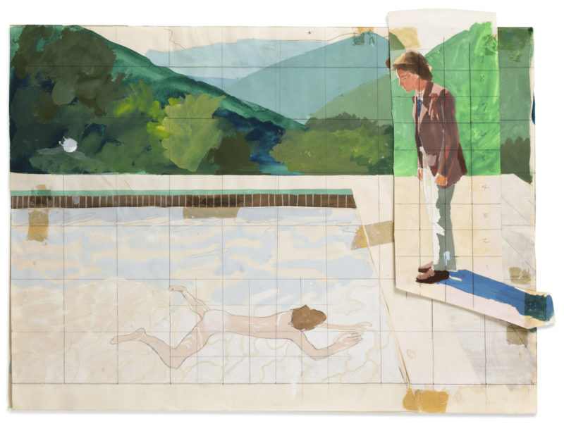 David Hockney - Study for Portrait of an Artist (Pool with Two Figures), 1972, gouache, collage, pencil on paper, 35.2 x 47.6 cm (13.85 x 18.74 in)