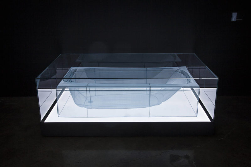 Do Ho Suh - Bathtub, 2013, polyester fabric, stainless steel wire, display case, LED lighting, Brian Fitzsimmons