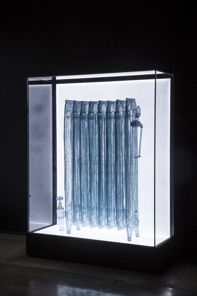 Do Ho Suh - Radiator, 2013, Specimen Series, Apartment A, 348 West 22nd Street, New York, NY 10011, USA, 2013. Polyester fabric, stainless steel wire, display case with LED lighting