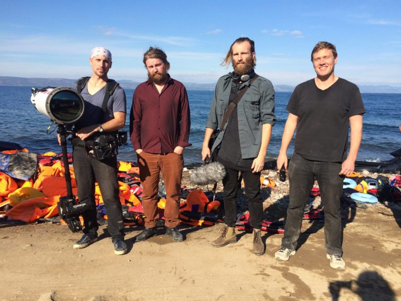 (From right to left) Photographer Richard Mosse, Composer Ben Frost, Writer John Holten and Cinematographer Trevor Tweeten in Lesbos, Greece