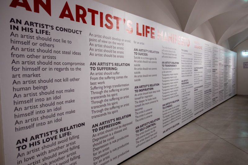 Installlation view of Marina Abramović's Artist's Life Manifesto at the exhibition The Cleaner, Palazzo Strozzi, Florence, 2018