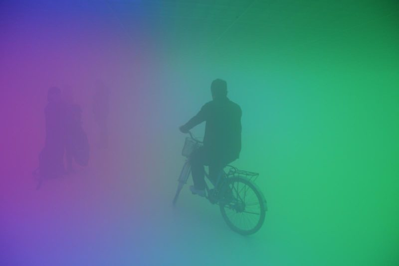 Olafur Eliasson - Feelings are facts, 2010, Fluorescent lights (red, green, blue), aluminium, steel, wood, ballasts, haze machines, Ullens Center for Contemporary Art, Beijing, 2010
