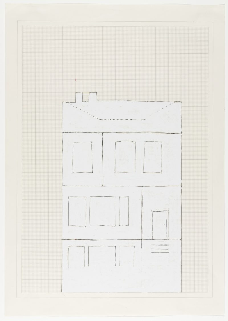 Rachel Whiteread - House, 1992, ink and correction fluid on graph paper, 59.1 x 41.9 cm (23 1:4 x 16 1:2)